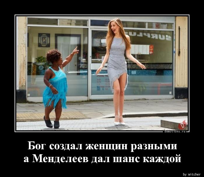 Бог создал женщин разными а Менделеев дал шанс каждой