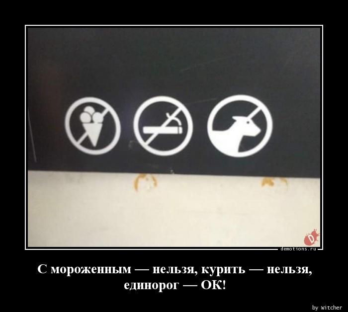 C мороженным — нельзя, курить — нельзя,  единорог — ОК!