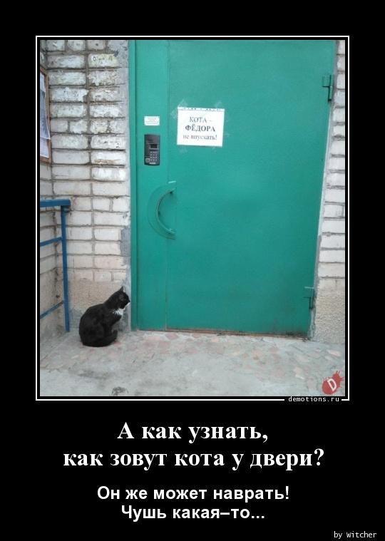 А как узнать,  как зовут кота у двери?