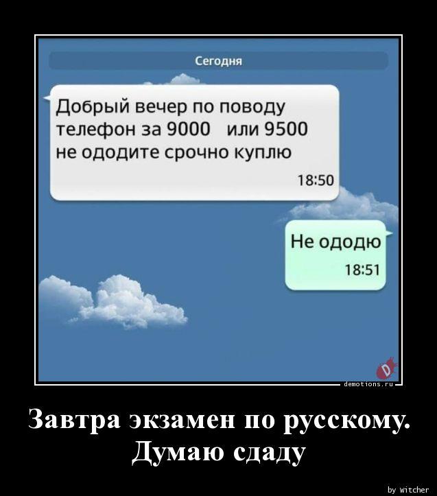 Завтра экзамен по русскому.  Думаю сдаду
