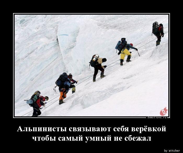 Альпинисты связывают себя верёвкой чтобы самый умный не сбежал