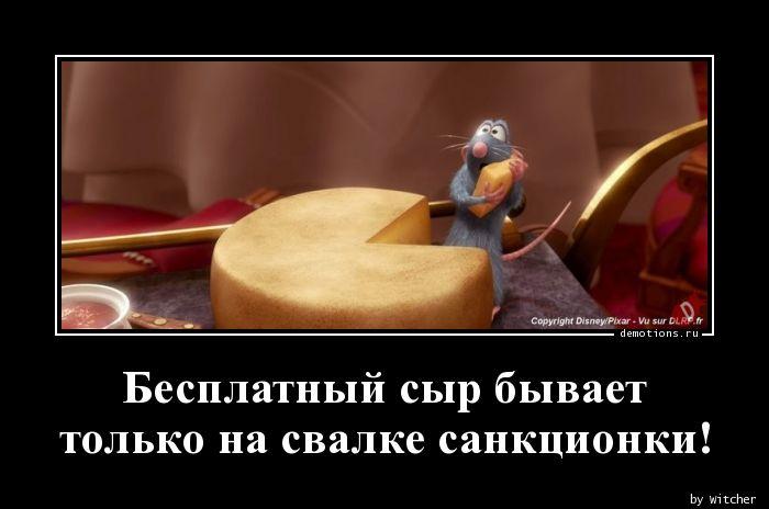 Бесплатный сыр бывает  только на свалке санкционки!