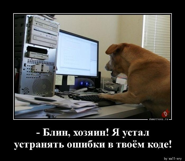- Блин, хозяин! Я устал устранять ошибки в твоём коде!