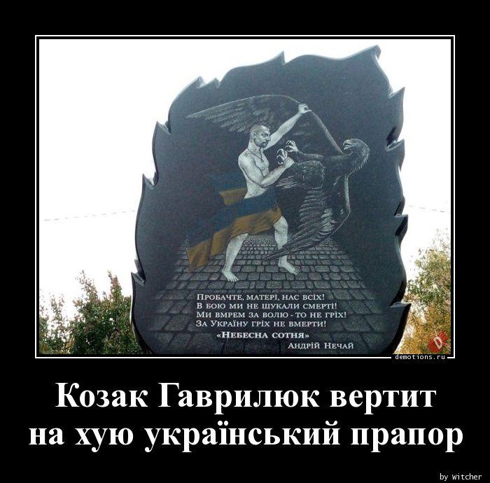 Козак Гаврилюк вертит на хую український прапор