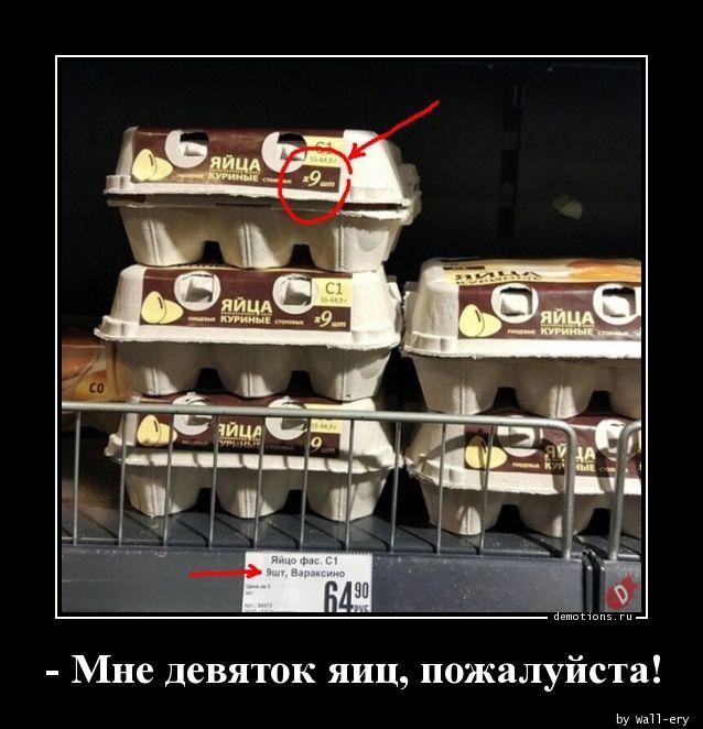 - Мне девяток яиц, пожалуйста!