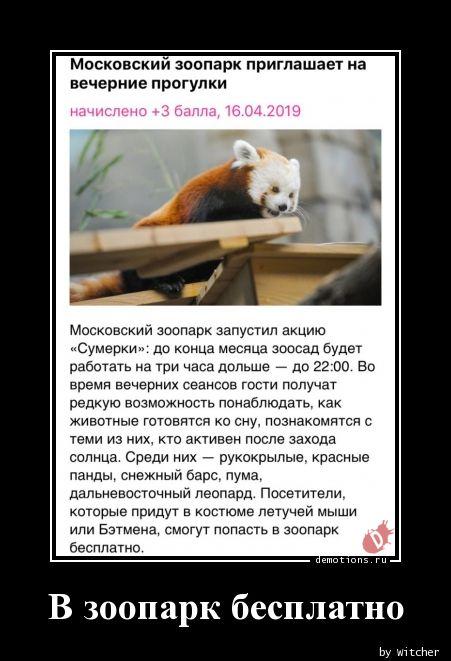 В зоопарк бесплатно