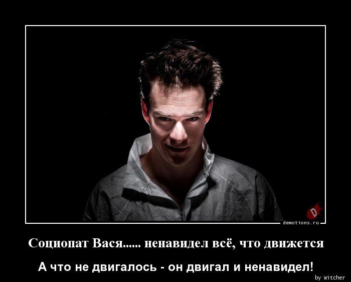 Социопат Вася...... ненавидел всё, что движется