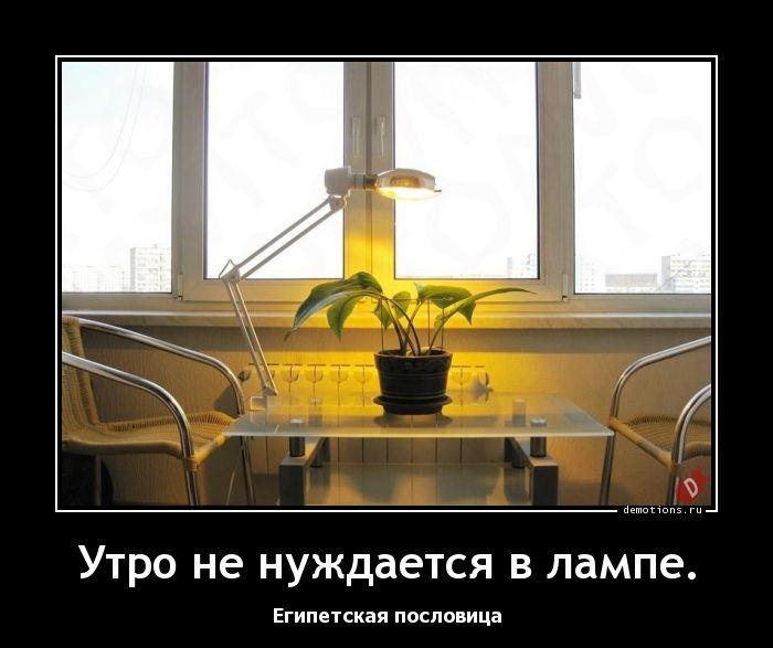 Утро не нуждается в лампе.