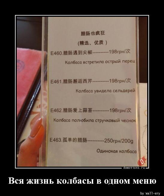 Вся жизнь колбасы в одном меню