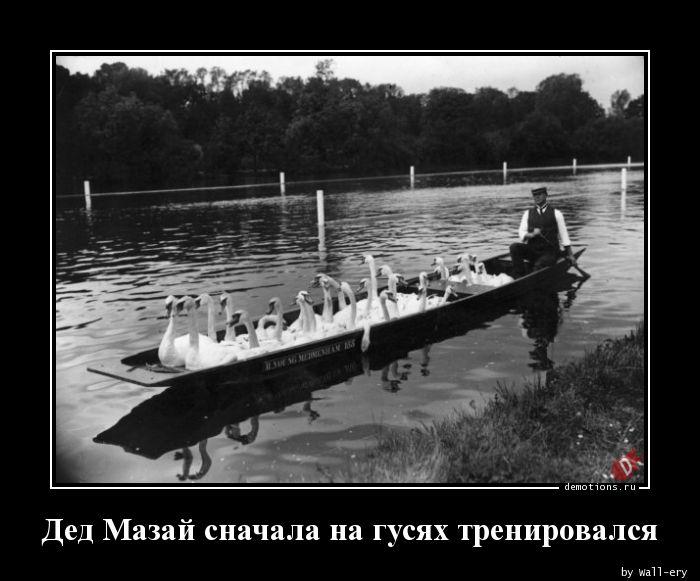 Дед Мазай сначала на гусях тренировался