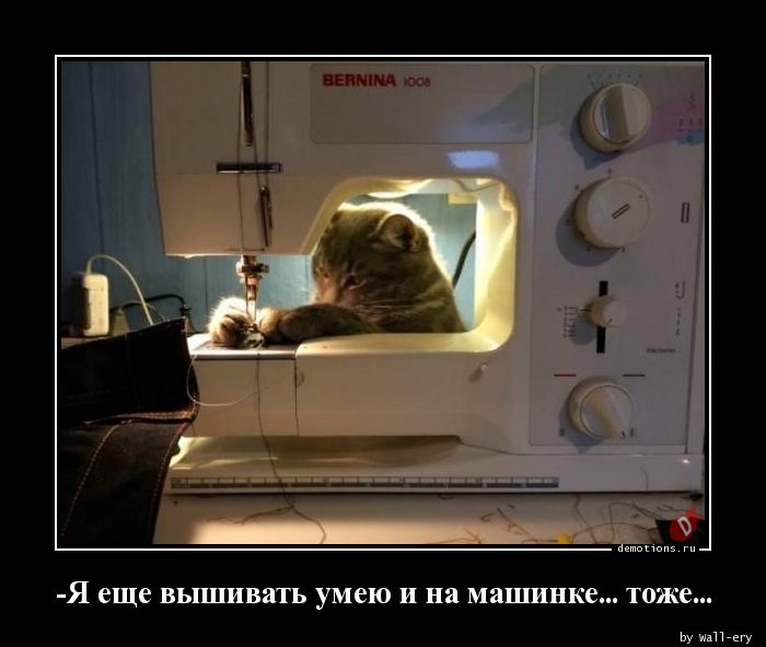-Я еще вышивать умею и на машинке... тоже...