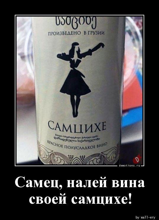 Самец, налей вина своей самцихе!