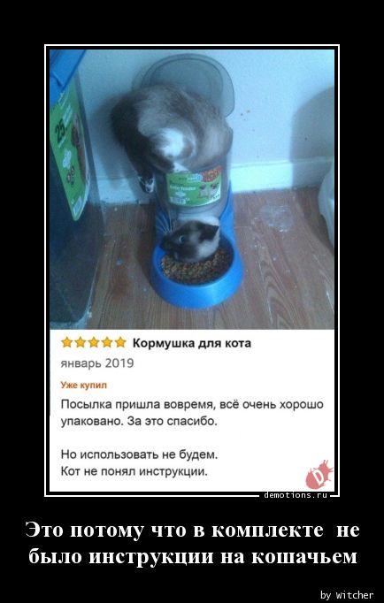 Это потому что в комплекте  не  было инструкции на кошачьем