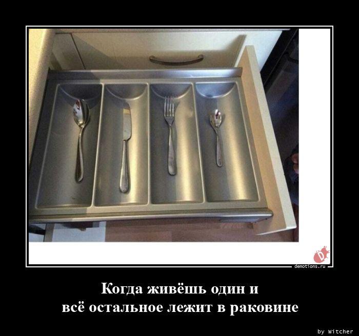 Когда живёшь один и всё остальное лежит в раковине