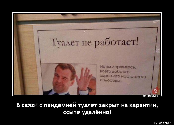 В связи с пандемией туалет закрыт на карантин, ссыте удалённо!
