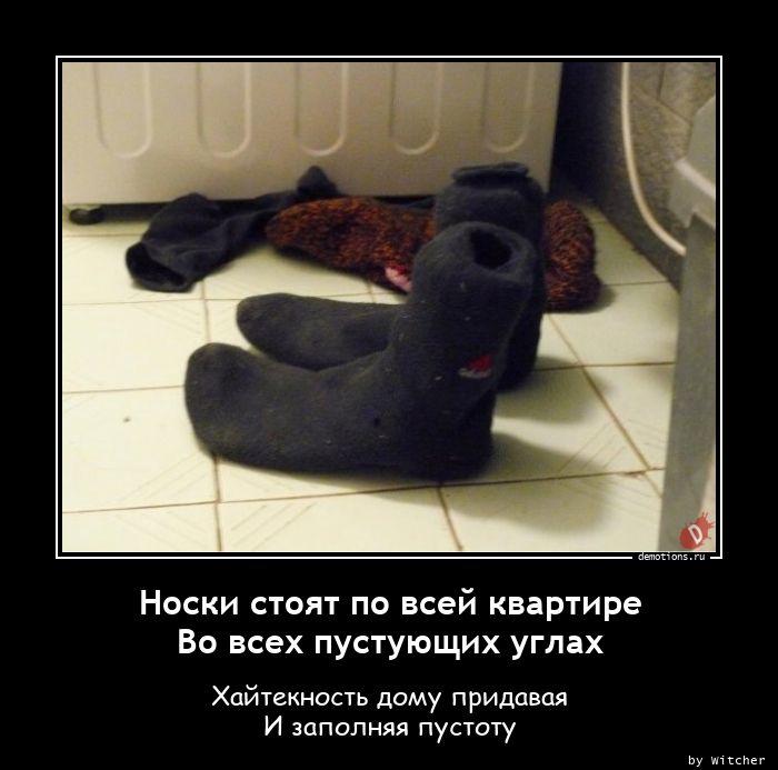 Носки стоят по всей квартире Во всех пустующих углах