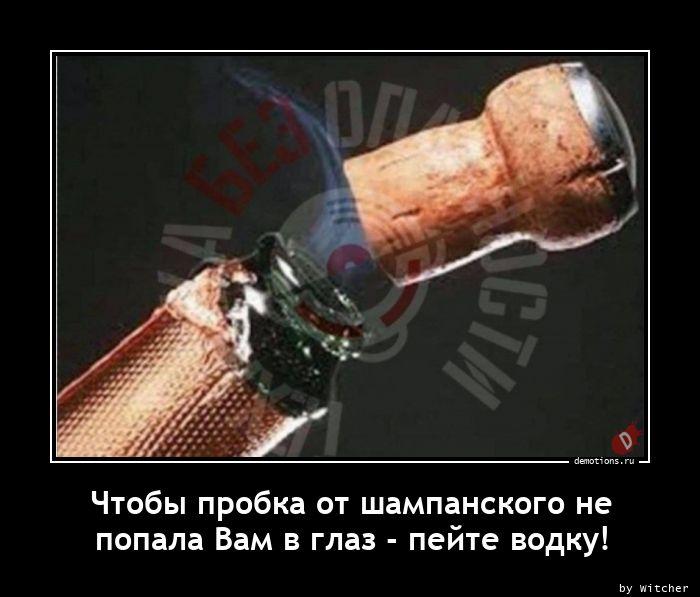 Чтобы пробка от шампанского не nпопала Вам в глаз - пейте водку!