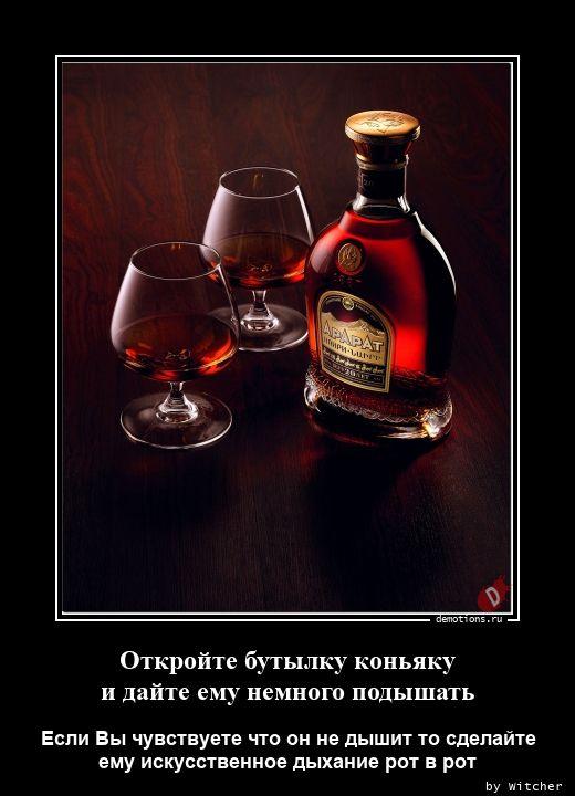 Откройте бутылку коньякуnи дайте ему немного подышать