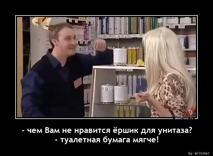 - чем Вам не нравится ёршик для унитаза? - туалетная бумага мягче!
