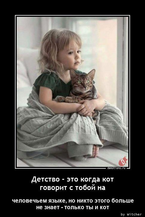 Детство - это когда кот говорит с тобой на