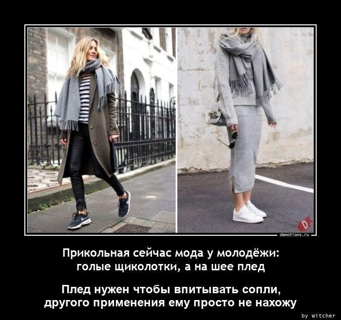 Прикольная сейчас мода у молодёжи: голые щиколотки, а на шее плед