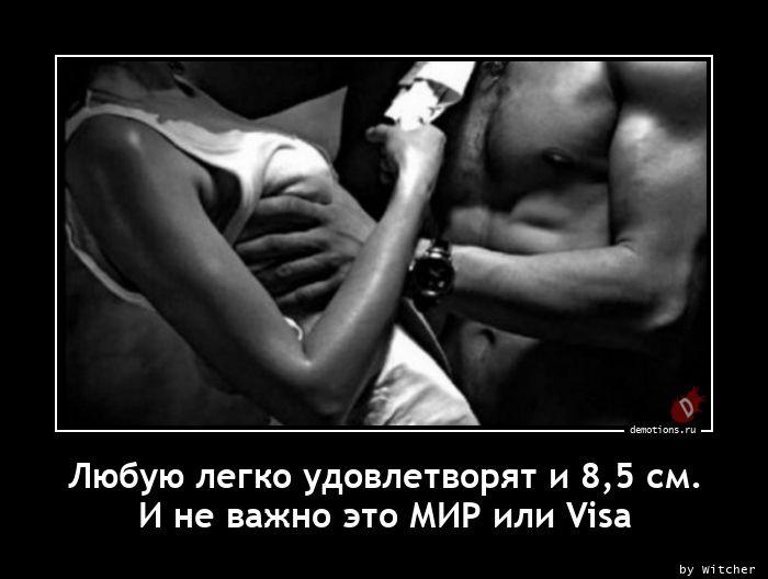 Любую легко удовлетворят и 8,5 см. И не важно это МИР или Visa