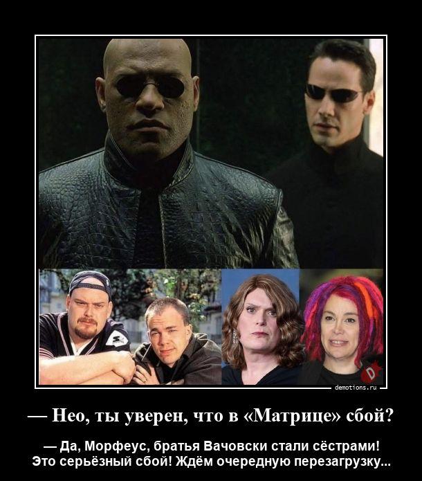 — Нео, ты уверен, что в «Матрице» сбой?