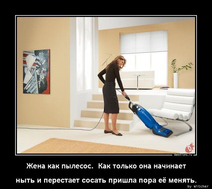 Жена как пылесос.  Как только она начинает