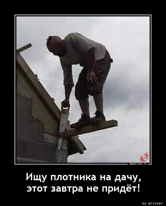 Ищу плотника на дачу, этот завтра не придёт!